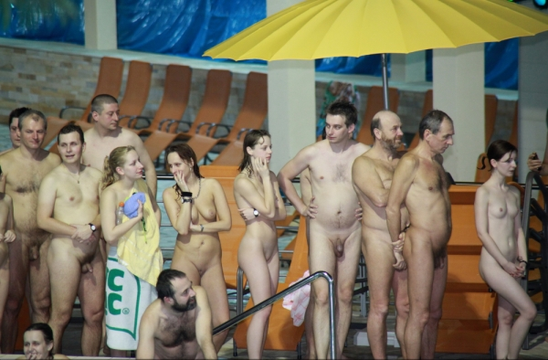 Family nudism in the pool