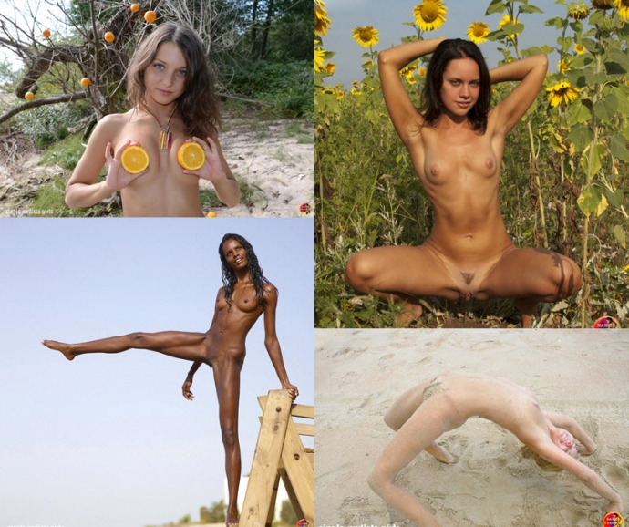 Girls of a naturists outdoors
